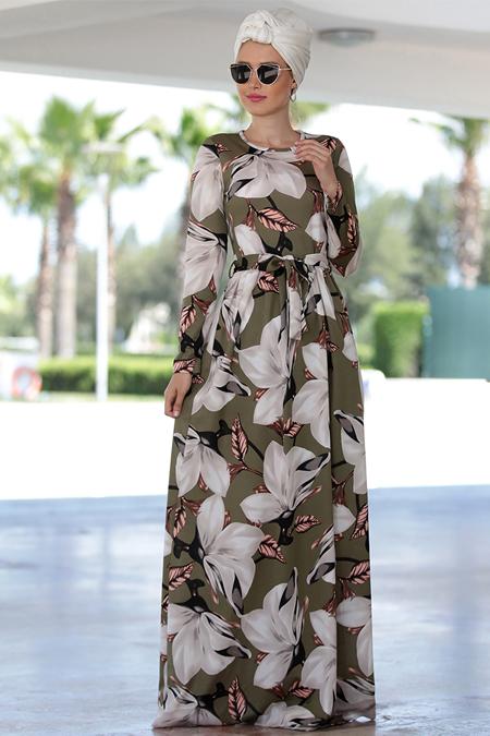 Selma Sarı Design Haki Gonca Elbise
