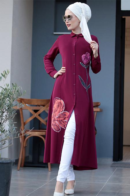 Selma Sarı Design Koyu Fuşya Çiçek Desenli Tunik