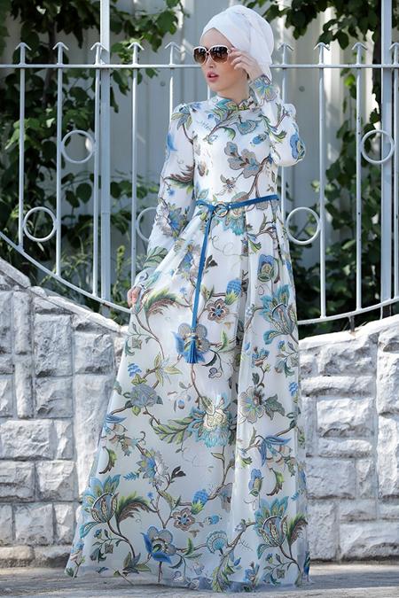 Selma Sarı Design Mavi Zambak Desenli Elbise