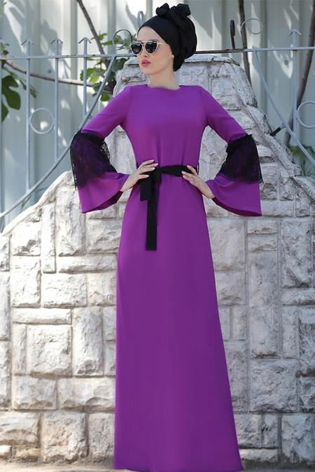 Selma Sarı Design Mor Dantel Detaylı Elbise