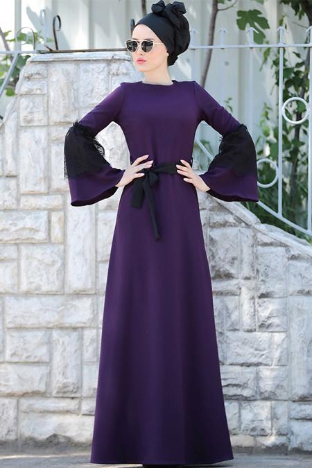 Selma Sarı Design Mürdüm Dantel Detaylı Elbise