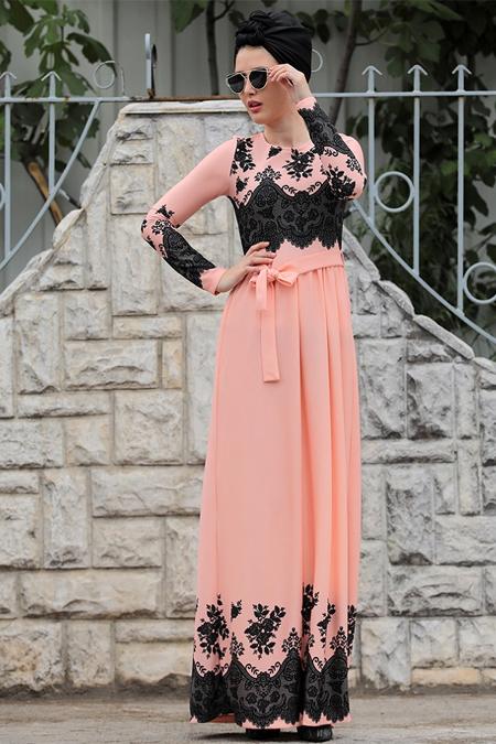 Selma Sarı Design Pudra Dantel Detaylı Simay Elbise