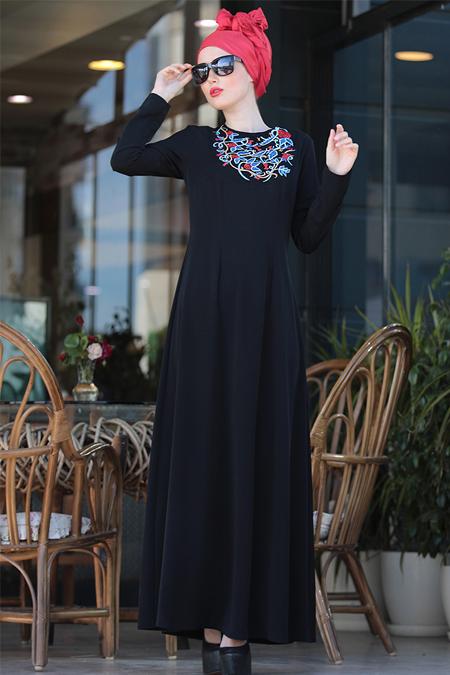 Selma Sarı Design Siyah İrem Nakışlı Elbise