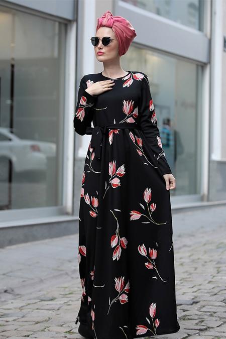 Selma Sarı Design Siyah Kırmızı Gonca Elbise