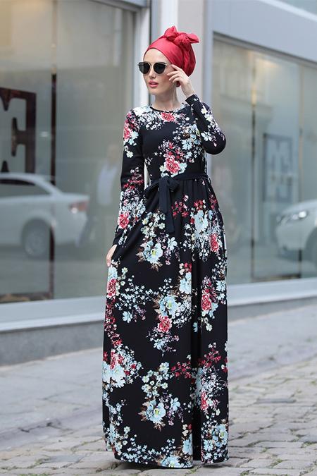 Selma Sarı Design Siyah Mavi Gonca Elbise