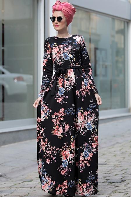 Selma Sarı Design Siyah Pudra Gonca Elbise