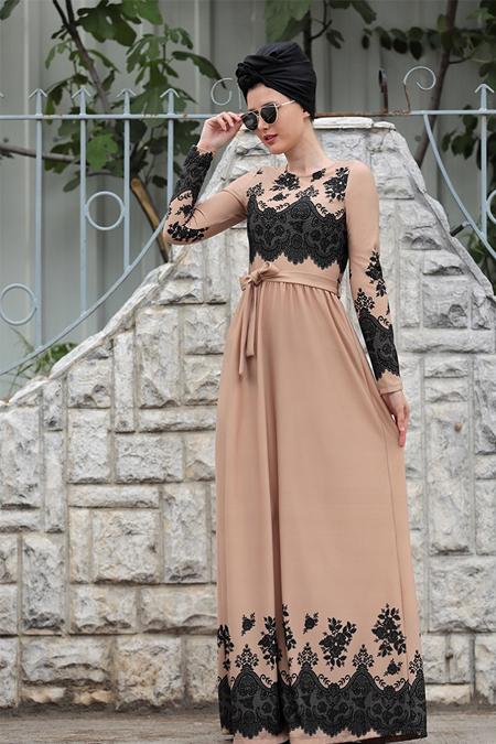 Selma Sarı Design Taş Dantel Detaylı Simay Elbise