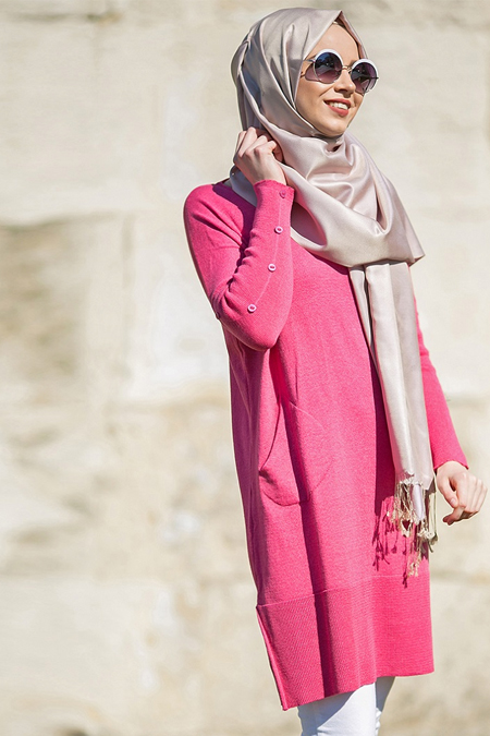 Seyhan Fashion Fuşya Triko Tunik