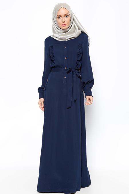 Topless Lacivert Düğme Detaylı Elbise
