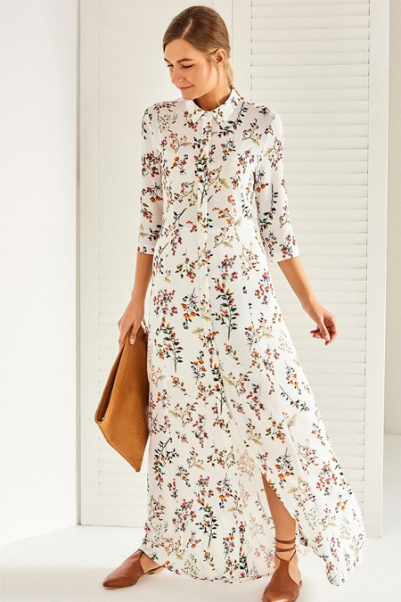 Vavist Açık Desenli Midi Elbise