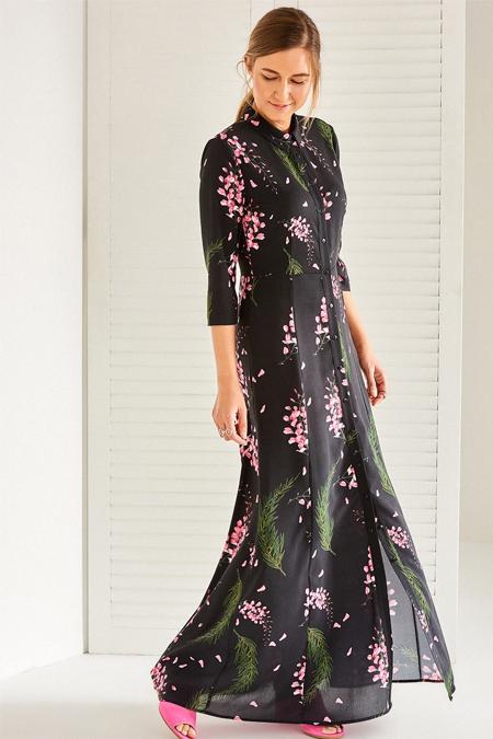 Vavist Desenli Midi Elbise