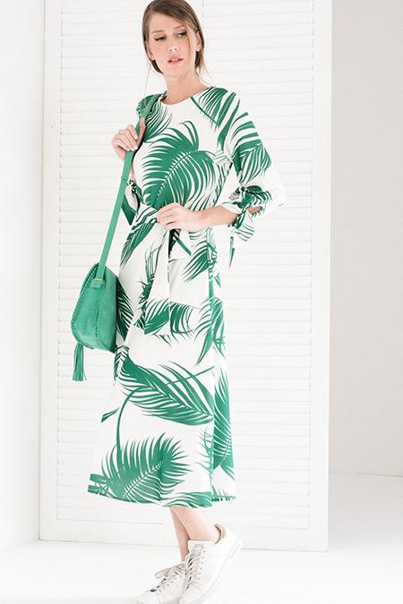 Vavist Ekru Yeşil Desenli Kuşaklı Midi Elbise