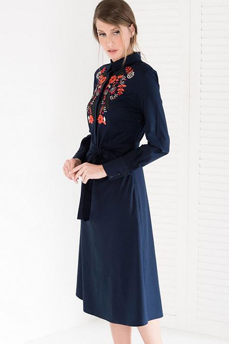 Vavist Lacivert Nakış Detaylı Kuşaklı Elbise