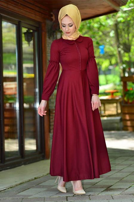 Vitrinsbutik Bordo Kolu Volan Detaylı Elbise