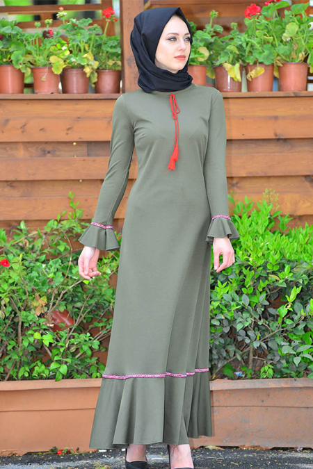 Vitrinsbutik Haki Püskül Detaylı Elbise