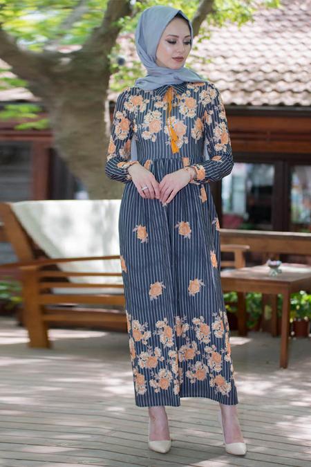 Vitrinsbutik Lacivert Hardal Çiçek Desenli Elbise