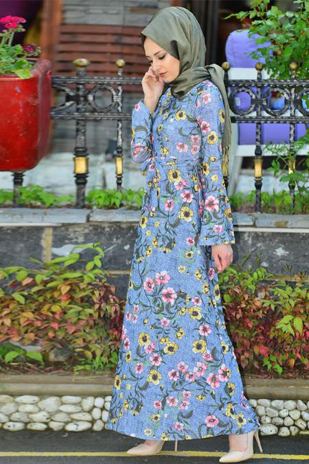 Vitrinsbutik Mavi Kuşaklı Elbise