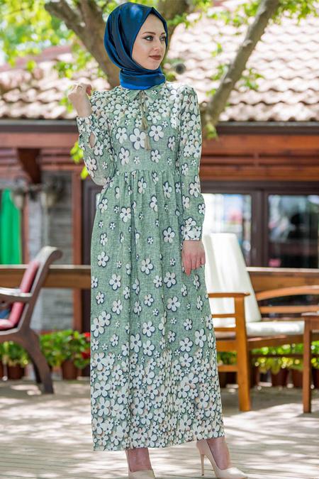 Vitrinsbutik Yeşil Çiçek Desenli Elbise
