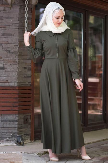 Vitrinsbutik Yeşil Kolu Volan Detaylı Elbise