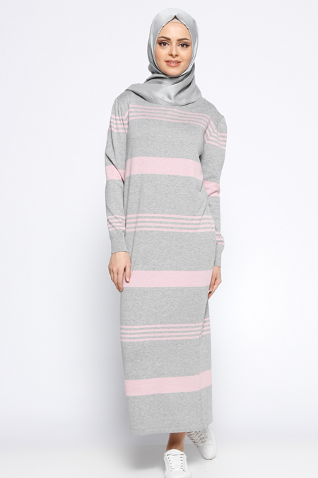 Zentoni Gri Pembe Mevsimlik Elbise