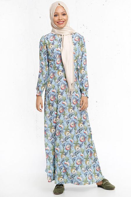 Refka Mavi Desenli Elbise