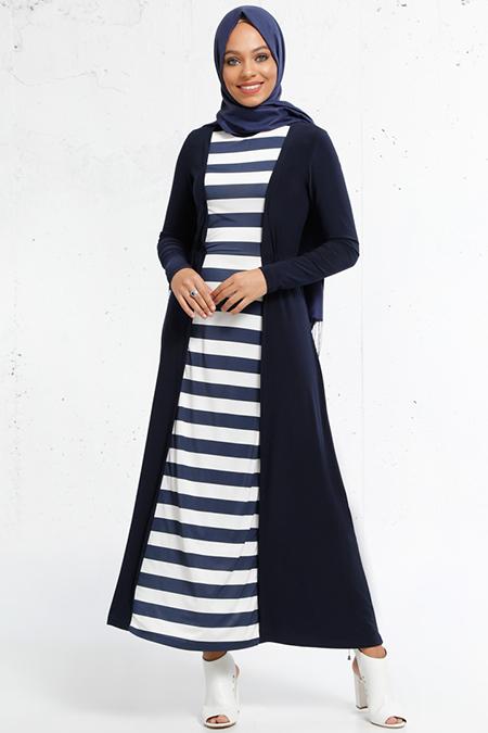 Refka Lacivert Beyaz Çizgili Elbise