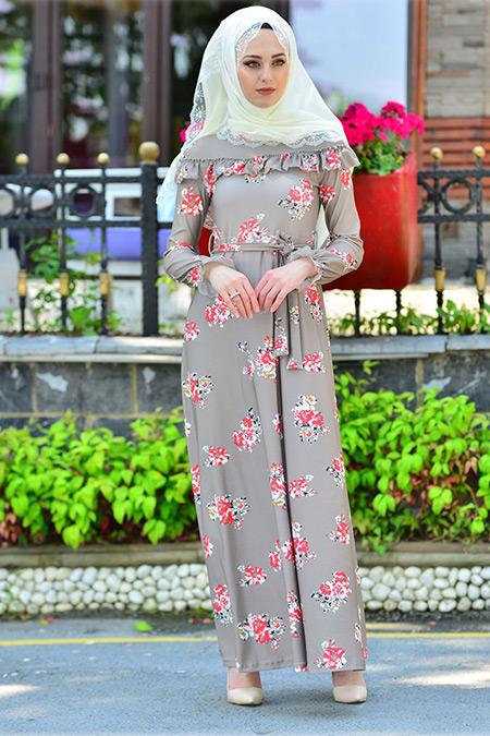 İnşirah Vizon Nar Çiçek Desenli Elbise