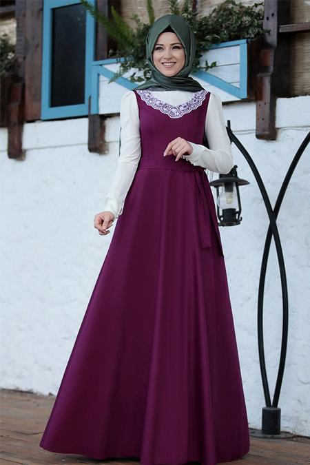 Al-Marah Fuşya Güler Elbise