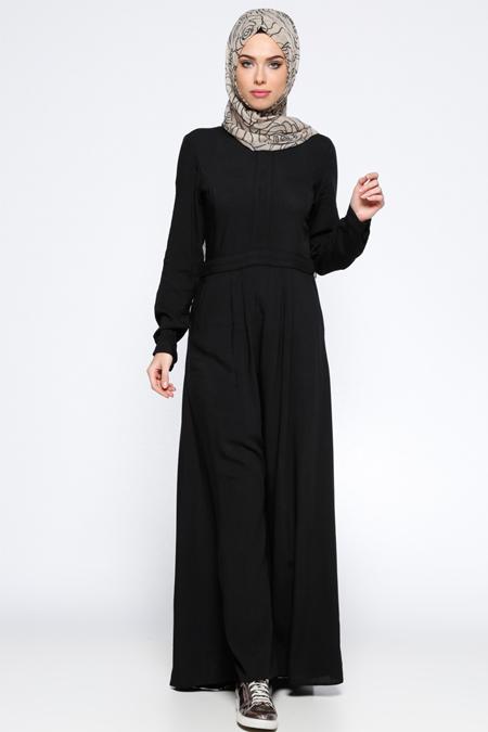 Appleline Siyah Biye Detaylı Elbise