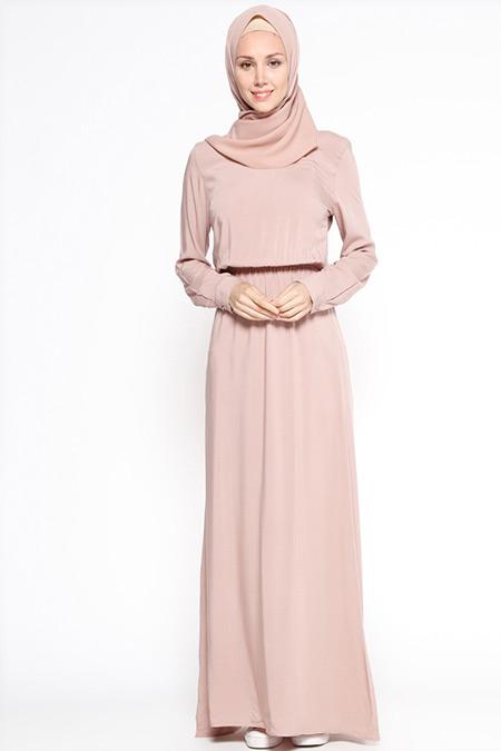 Appleline Vizon Beli Lastikli Elbise
