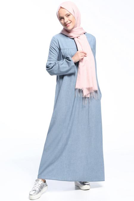 Benin Açık Mavi Natural Kumaşlı Kot Elbise
