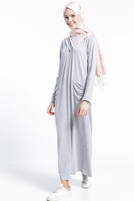 Benin Gri Pudra Doğal Kumaşlı Cepli Elbise