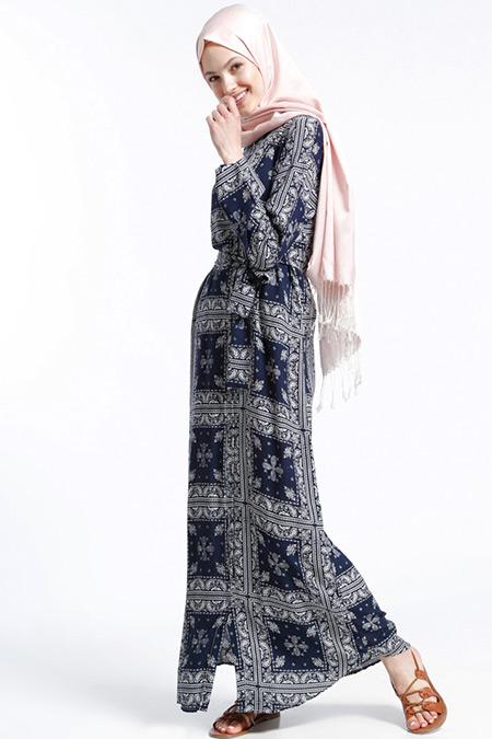 Benin Lacivert Doğal Kumaşlı Şal Desenli Elbise