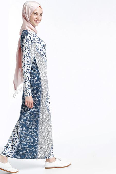 Benin Lacivert Doğal Kumaşlı Desenli Elbise