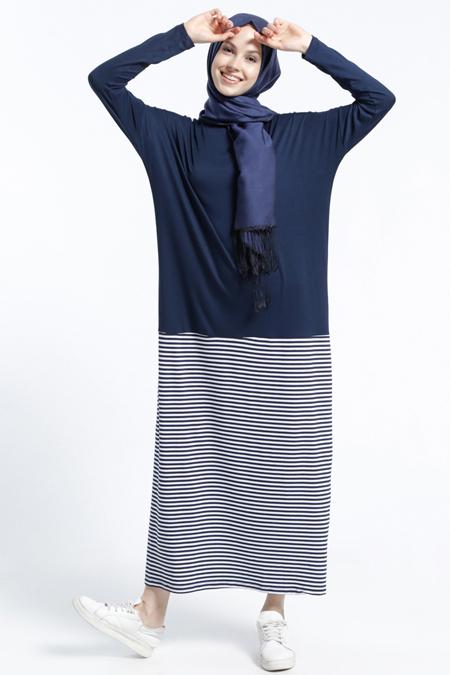 Benin Lacivert Ekru Doğal Kumaşlı Çizgili Elbise