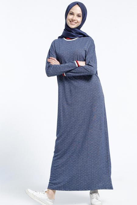 Benin Lacivert Puantiyeli Elbise