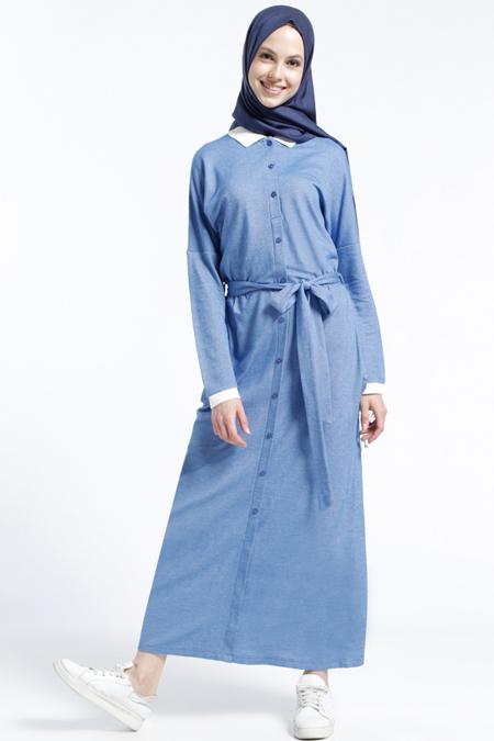 Benin Mavi Düğmeli Elbise