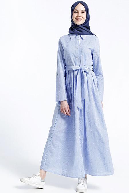 Benin Mavi Naturel Kumaşlı Çizgili Çıpalı Elbise