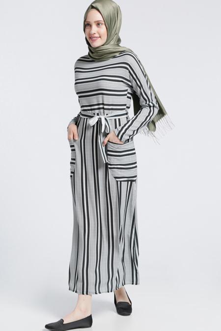 Benin Siyah Çizgili Elbise