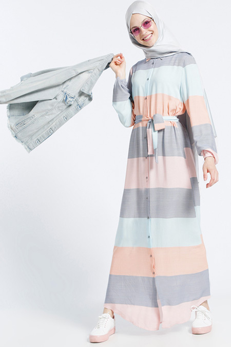 Benin Somon Doğal Kumaşlı Çizgili Elbise