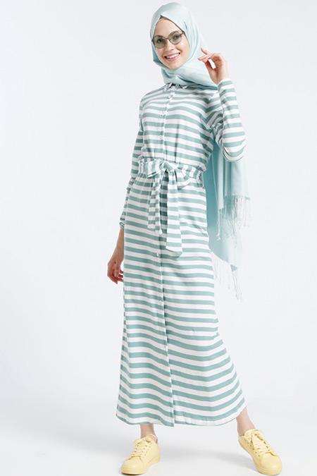 Benin Yeşil Doğal Kumaşlı Çizgili Elbise