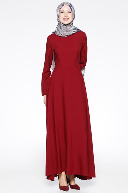 Bislife Kırmızı Kloş Etekli Elbise