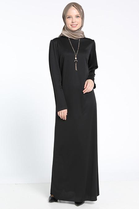Bislife Siyah Kolyeli Elbise