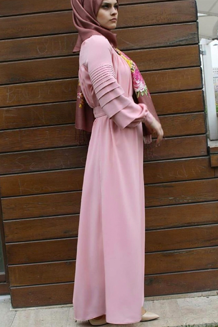 Butik Minya Büzgülü Pudra Elbise