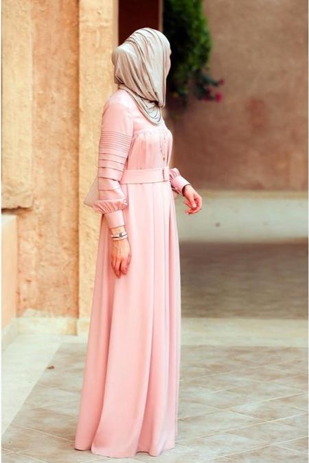 Butik Minya Büzgülü Somon Elbise