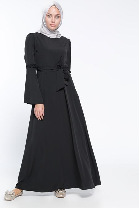 Bwest Siyah İspanyol Kollu Elbise