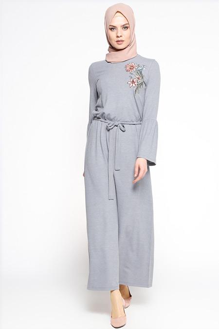 Casual By Dide Gri Çiçek Nakışlı Elbise