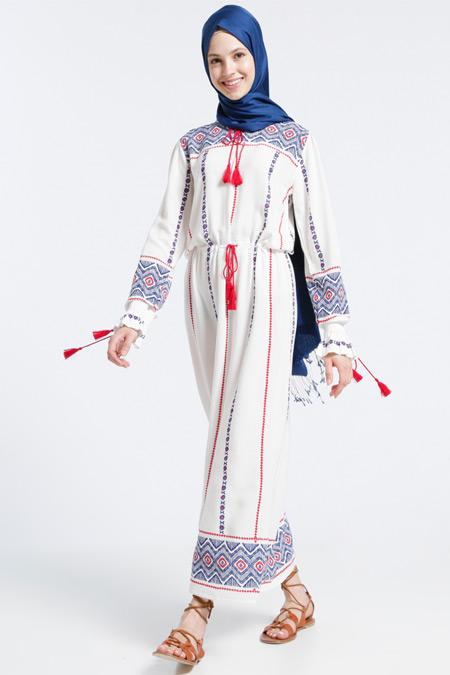 Benin Ekru Doğal Kumaşlı Etnik Desenli Elbise