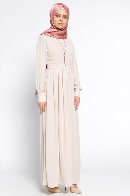 Eva Fashion Bej Kolyeli Elbise