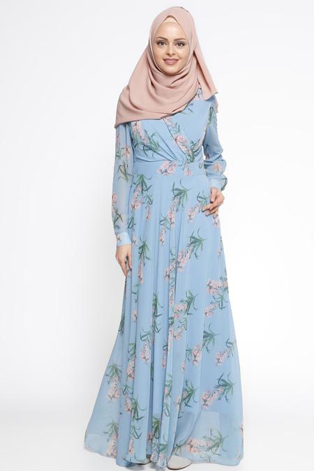 Eva Fashion Mavi Çiçek Desenli Elbise